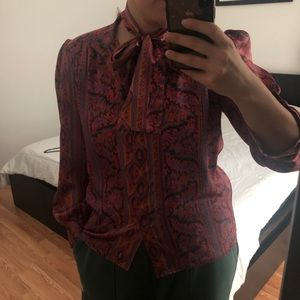 Vintage satin button down with neck scarf